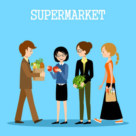 People in a supermarket with purchases. Retail store illustration. Vector Illustration