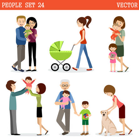daddy: Vector set of people with children. Parents, children, grandmothers and grandfathers