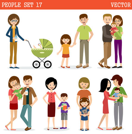 Vector set of people with children. Parents