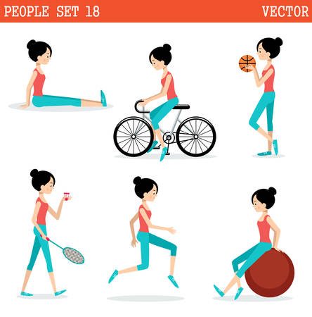 active lifestyle: Sports girl. Active lifestyle. Vector