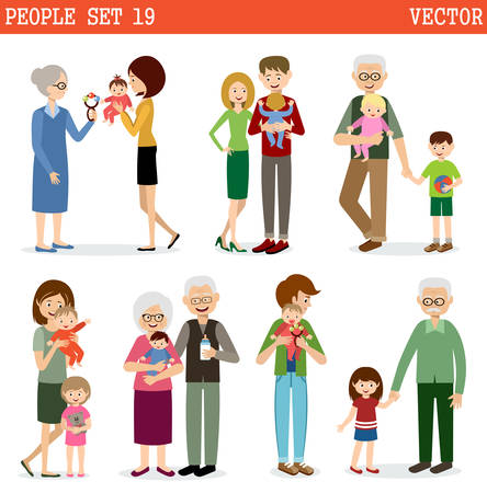 Vector set of people with children on a white background. Parents, children, grandmothers and grandfathers