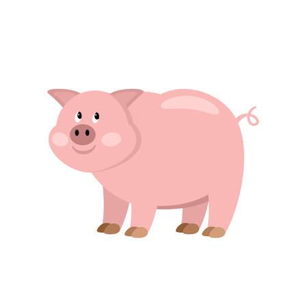 bacon art: Cartoon cow. Farmer isolated animal. Vector