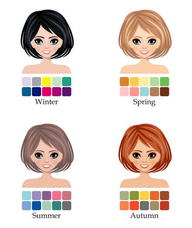 skin color: Seasonal color types of woman face, hair, skin and eyes.  Winter, Spring, Summer and Autumn. Vector Illustration