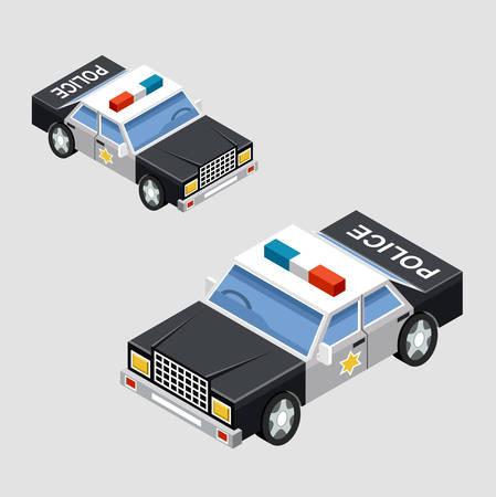 motor de carro: coche de la polic�a isom�trica en dos proyecciones. Vector