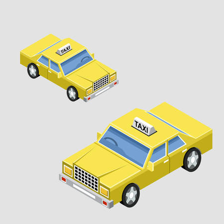 projections: Isometric taxi car in two projections. Vector