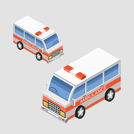 emergency engine: Isometric ambulance car in two projections. Vector