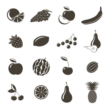 cherries isolated: Different fruits icons on a white background. Vector illustration