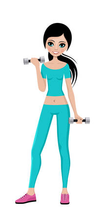 sports training: Sports girl with dumbbells in a training suit. Fitness trainer. Vector