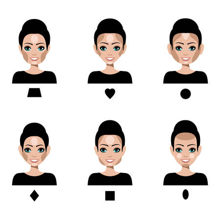 highlights: Contour and Highlight makeup. Correction by a make-up of different shapes of faces. Vector
