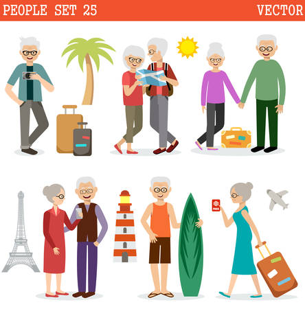 retired: Elderly people travel all over the world and have a rest. Vector illustration