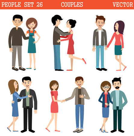 Loving couples on the white background. Men and women. Vector
