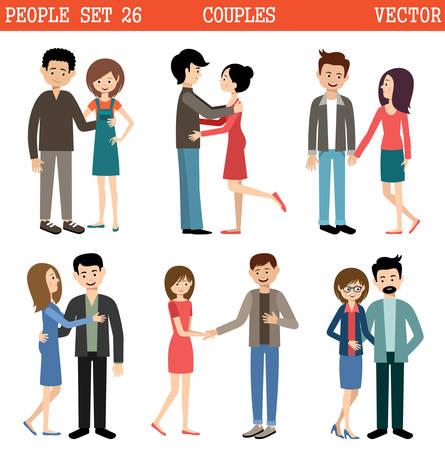 loving: Loving couples on the white background. Men and women. Vector Illustration