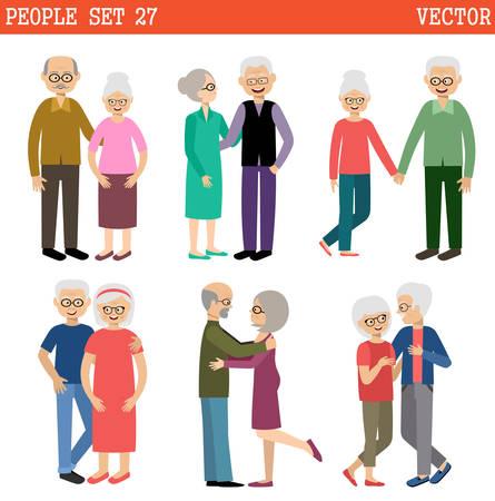 happy seniors: Loving couples of elderly people. Pensioners. Vector