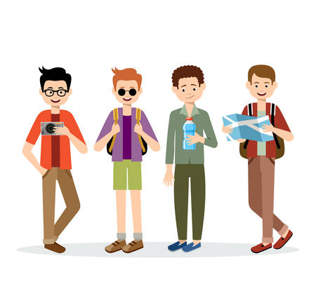 backpack: Isolated men travelers on a white background. Vector Illustration