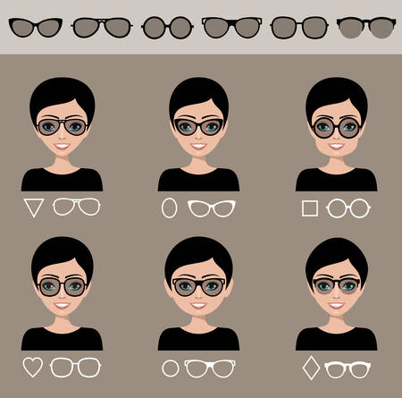 Selection of female sunglasses to different shapes of a face. Vector