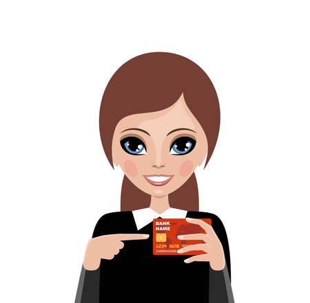 advertizing: Young woman advertizes a credit card. Banking service. Payments concept.. Vector Illustration