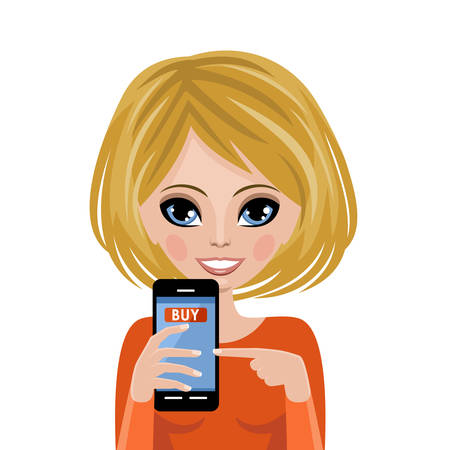 woman holding money: Smiling woman advertizes mobile payment. Online shopping. Vector