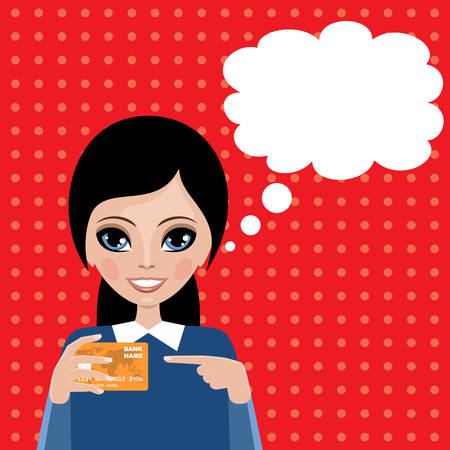 credit card business woman: Woman blank speech bubble. Services of bank. Payment card. Vector Illustration