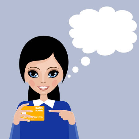 woman speaking: Woman blank speech bubble. Services of bank. Payment card. Vector Illustration