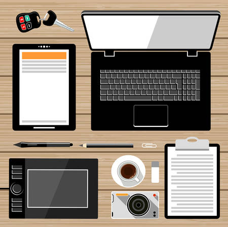graphic tablet: Workplace flat lay. Business elements. Laptop, graphic tablet, tablet, camera. Vector
