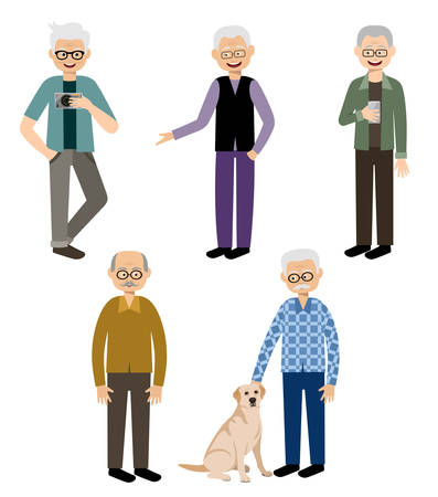female animal: Grandfathers. Elderly men. Pensioners. Vector