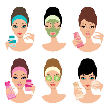 face mask: Women and cosmetics. Cosmetic procedures. Beauty salon. Vector