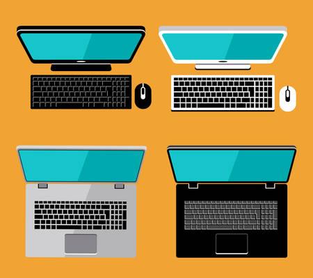 flat screen: Laptop and computer flat lay. Screen. Vector