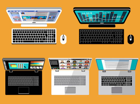 laptop computer: Laptop and computer flat lay Screen. Vector