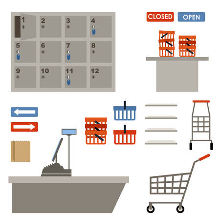 shelfs: Supermarket equipment. Shopping basket, empty shelfs, left-luggage. Shopping, market shop. Vector Illustration