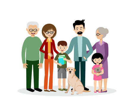 Family. Parents, children, grandmother and grandfather. Grandson and granddaughter. Son and daughter. Dog. Vector 向量圖像