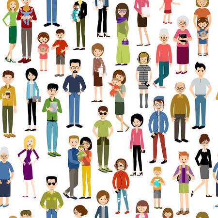 young group: Seamless people pattern. Vector