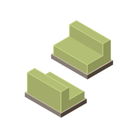chair wooden: 3D isometric chair. Wooden furniture. Isometric objects of furniture. Vector