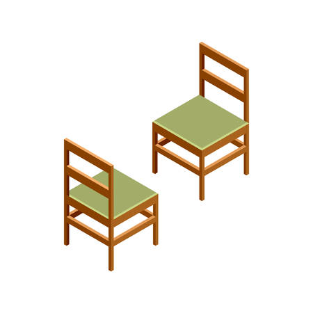 wood chair: 3D isometric chairs. Wooden furniture. Isometric objects of furniture. Vector