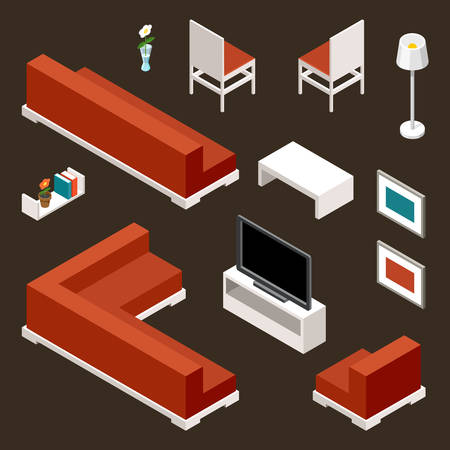 living room furniture: Furniture set for a living room. Vector