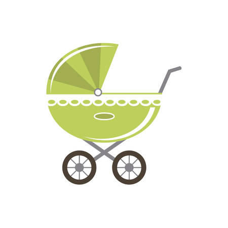 Baby carriage isolated. Goods for newborns. Vector