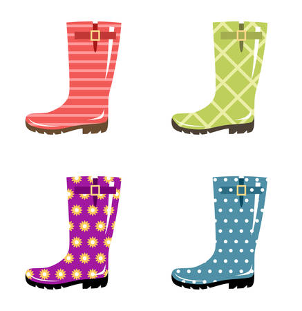 footwear: Set of gumboots on a white background. Autumn footwear. Vector