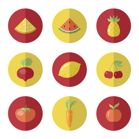 vetor: Set of fruit and vegetable icons. Round stickers. Vetor