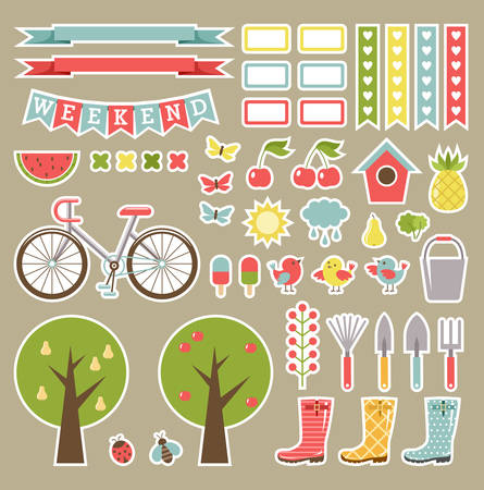 decorate notebook: Scrapbooking garden tools. Cutout elements. Vector Illustration