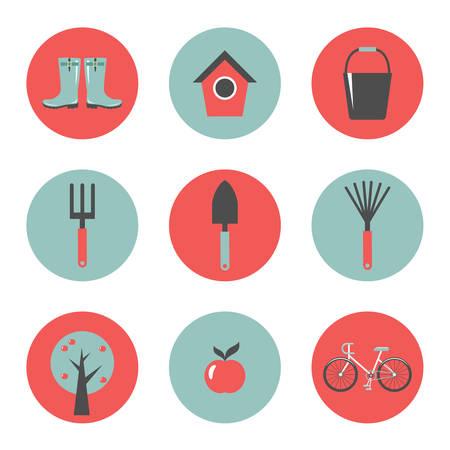 Set of round garden icons. Vector