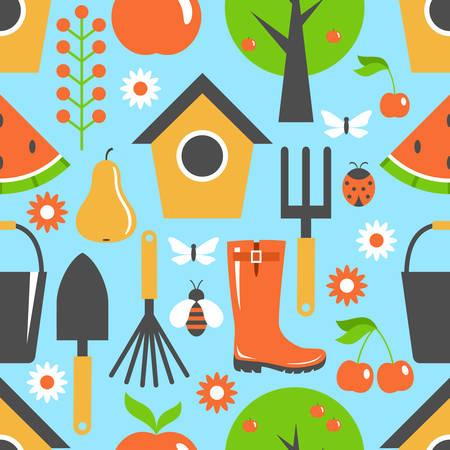 Garden pattern seamless. Harvest, fruits. Background. Vector