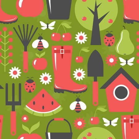 harvest background: Garden pattern seamless. Harvest, fruits. Background. Vector