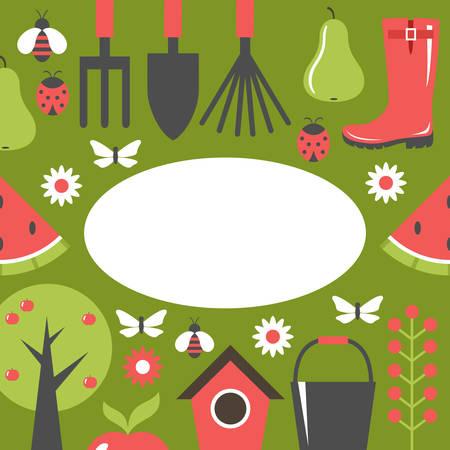 Garden green card. Harvest, fruits. Background. Vector