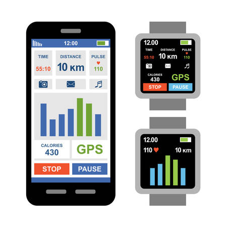 Fitness tracker app for smartwatch and smartphone. Vector Illustration