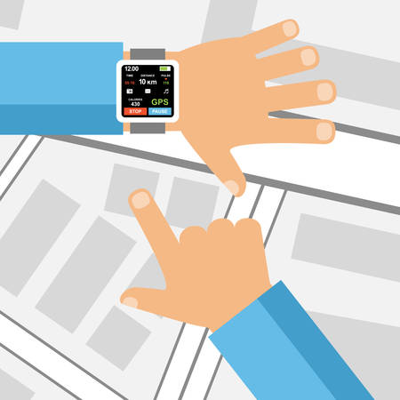 wrist: Smartwatch on a wrist. Fitness tracker application. Vector