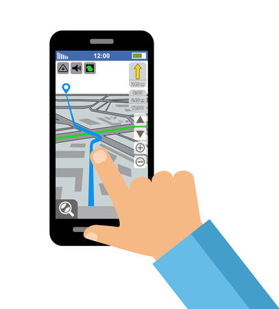 internet mark: Map of the city on the smartphone screen. GPS navigation. Vector