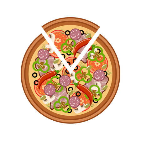 lunch table: Pizza on a white background. Vector Illustration