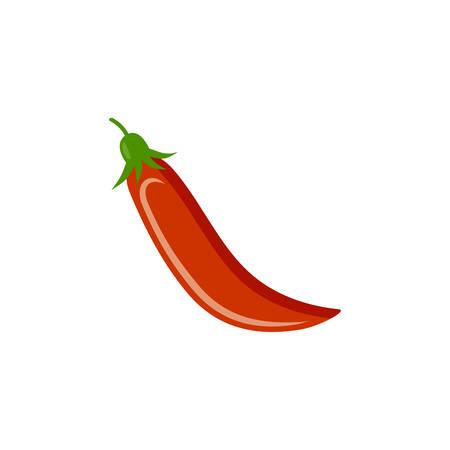 Hot pepper on a white background. Vegetables, vitamins, healthy food. Diet, vegetarianism. Vector Illustration