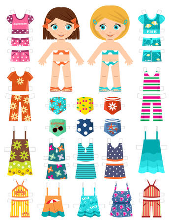Paper doll with a set of summer clothes. Vector Illustration