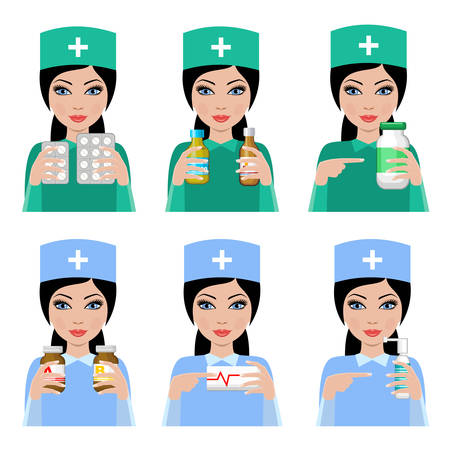 druggist: Woman doctor. The pharmacist with drugs. Treatment. Vector Illustration