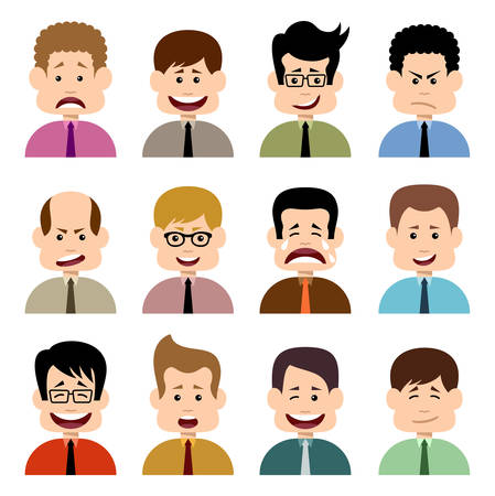 chagrin: People in emotions. Vector isolated Illustration